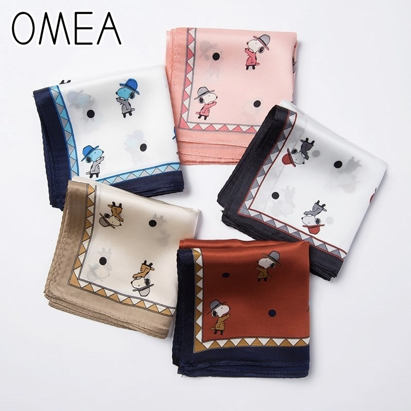 OMEA Small Square Real Silk Scarf Women Lovely Little Dog Cartoon Luxury Kerchief Headscarf Bag Decoration Neckerchief Silk Blue