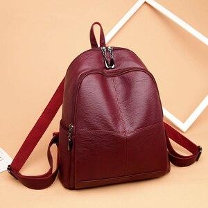 Image 2 - Bagpack נשי תרמיל ילדה המוצ ילה feminina מזדמן נשים עור תרמיל נשי כתף תיק Sac Dos Femme נסיעות חזרה חבילה