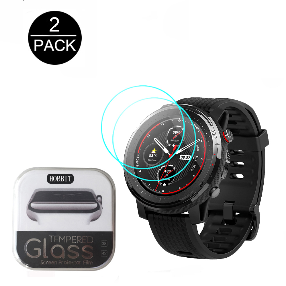2pcs Tempered Glass Screen Protector Cover Protective Film Guard For Xiaomi Huami AMAZFIT Stratos 3 Smartwatch GPS Smart Watch