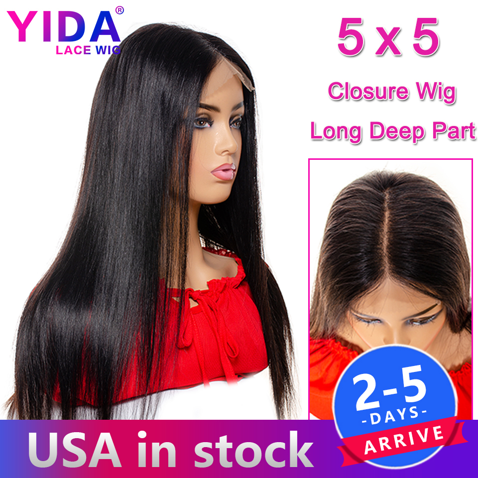 5X5 Lace Closure Wig Brazilian Straight Lace Front Human Hair Wigs For Black Women Can Be Pre Plucked Remy Closure Wig YIDA Wig