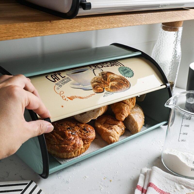 Boîte de rangement pour collation fournitures de cuisine pour la maison boîte à pain en métal rétro Flip Biscuits de cuisson boîte de rangement pour pain