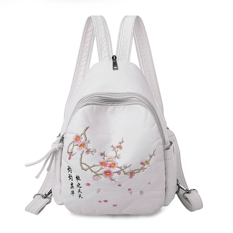 2019 Women Embroidery Leather Backpacks For Teenage Girls Sac A Dos Travel Bagpack Ladies Female Soft Leather Backpack Flowers