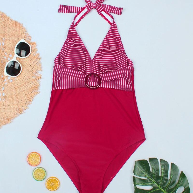 Image 5 - Riseado Vintage One Piece Swimsuits Striped Print Swimwear Female 2020 Halter Bathing Suits Women Belted Beach Swim Wear    -
