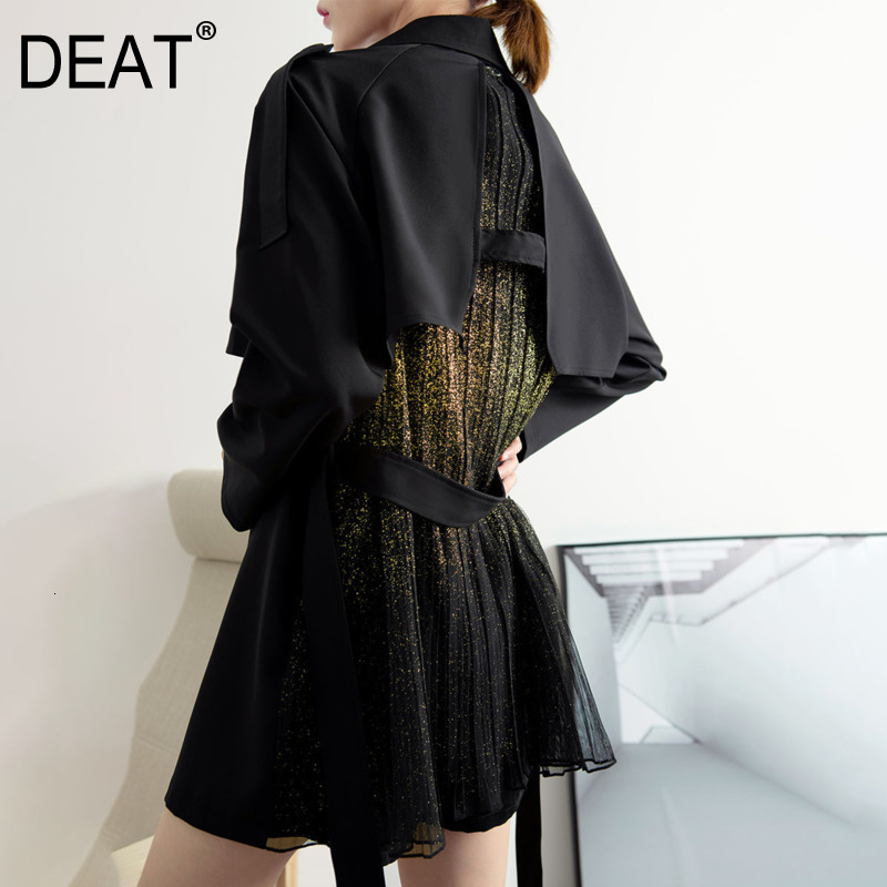 DEAT 2020 Autumn And Winter New Fashion Lapel Suit Short Jacket Female Loose Drape Temperament Lace Waist Coat PB394