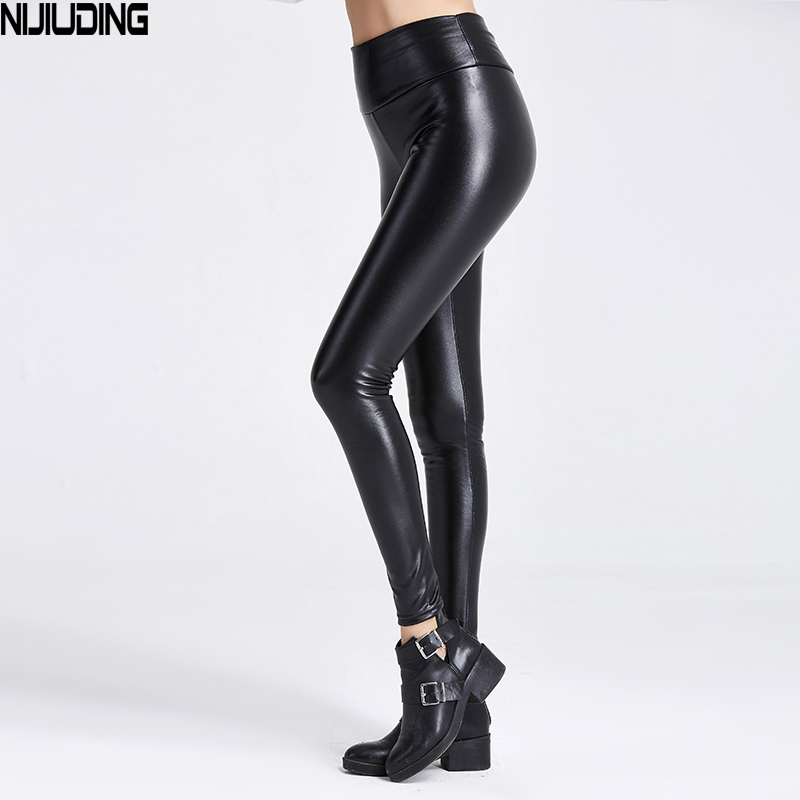2019 Thicken Winter PU Leather Women Velvet Pants High Waist Elastic Stretch Slim Woman Pencil Pants Skinny Trousers