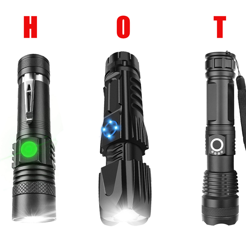 200000LM XHP90//XHP50 LED Flashlight Rechargeable 3 Modes Built-in Battery Torch