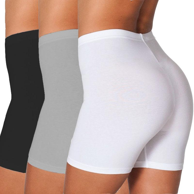 Women Pure Color Cotton Seamless Boxer Female Safety Pants Breathable Underwear