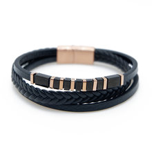 VEROMCA Personality Fashion Multi-layer Ladies Hand-woven Leather Bracelet Men's Gold Magnet Buckle Bracelet(China)