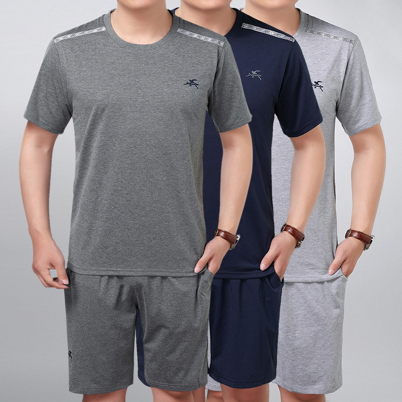 Middle-aged Casual Sports Clothing Men's Dad Summer Set Men's Thin Short Sleeve Shorts Two-Piece Set