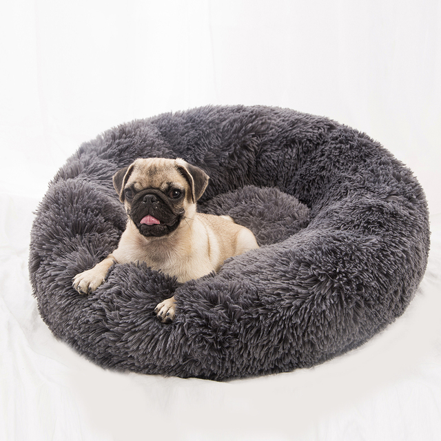 Super soft dog bed round washable plush kennel cat house velvet mat sofa dog  basket pet bed pet supplies snuffle mat for dogs