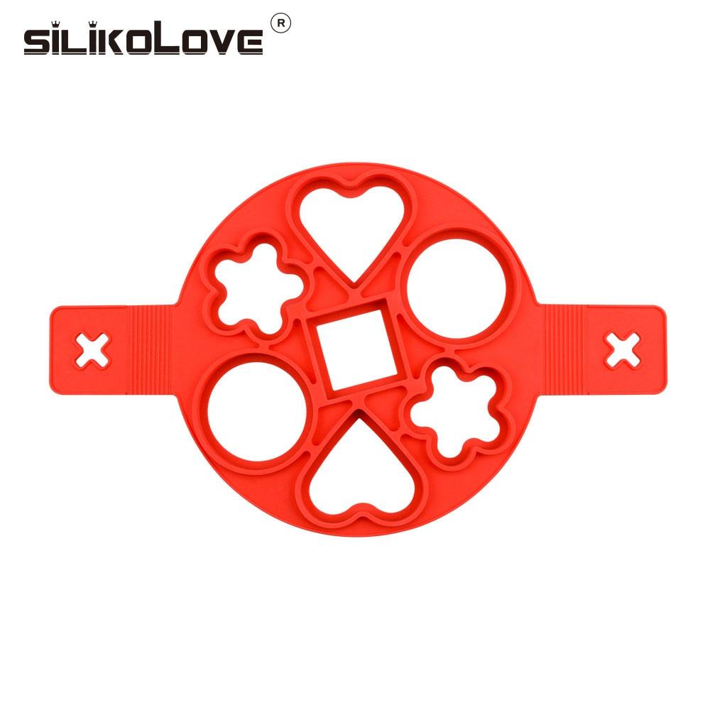 SILIKOLOVE Heart Round Flower Square Shape Egg Silicone Pancake Mold Maker Nonstick Cooking Tool Egg Ring Maker Easy Fantast