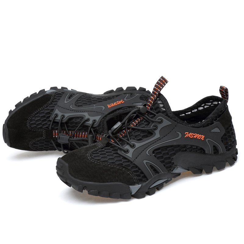 Купить с кэшбэком Summer Breathable Men Hiking Shoes Suede + Mesh Outdoor Men Sneakers Climbing Shoes Men Sport Shoes Quick-dry Water Shoes
