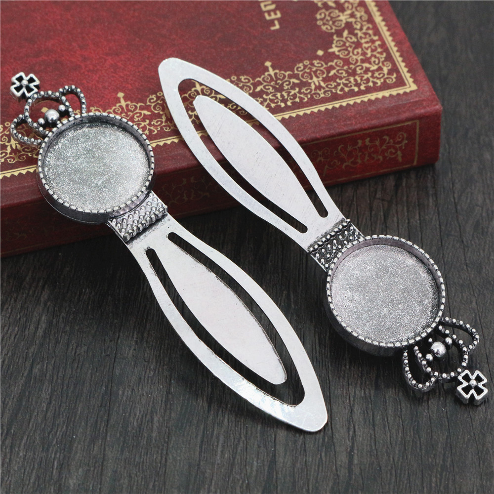 New Fashion 2pcs 20mm Inner Size Antique Silver Plated Simple Style Handmade Bookmark Cabochon Base  Cameo Setting (H1-14)