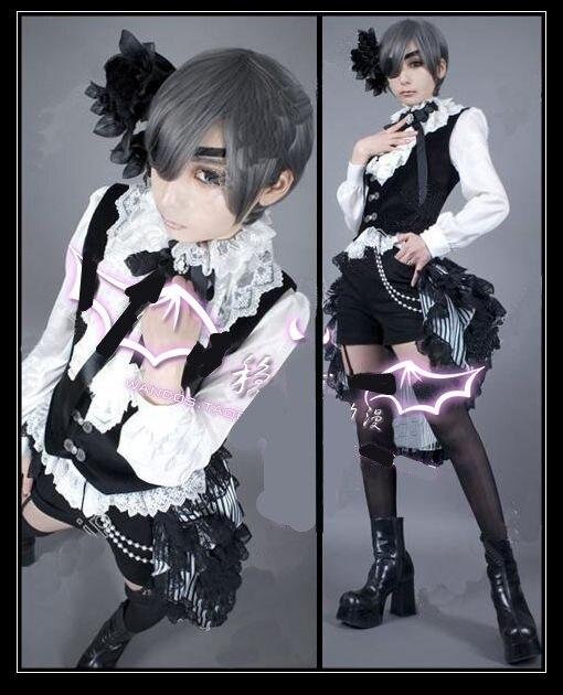 Высокое качество аниме тёмный дворецкий цирк Ciel Phantomhive мужской костюм для косплея рубашка+ жилет+ шорты+ патч+ юбка