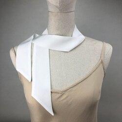 High Quality 100% Silk Scarves Two Layer Fashion Crepe De Chine Natural White Silk Head Scarf Women's  Bandeau Cute Bag Ribbon