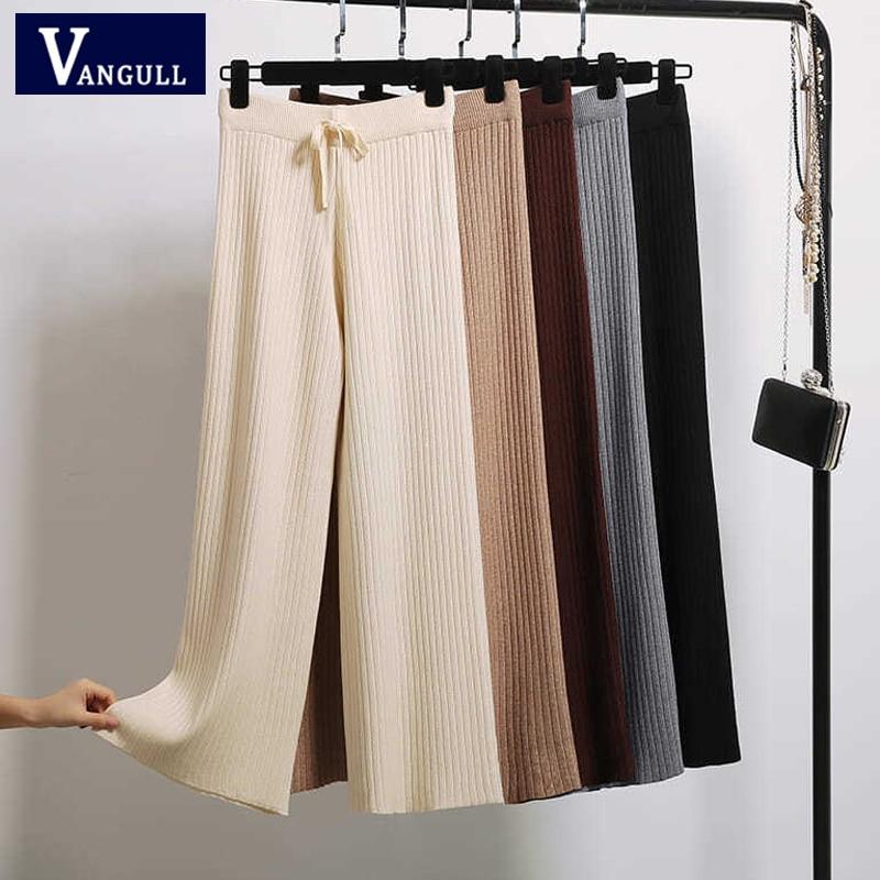Vangull Spring Autumn Knitted Wide Leg Pants Women Korean Solid Pit Ankle length Pants Elastic Waist Lace Up Pants Sweatpants|Pants & Capris| - AliExpress