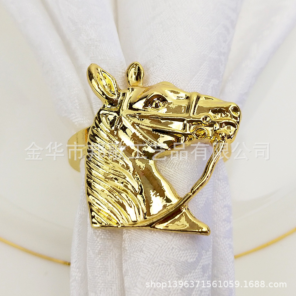 Horse Head Napkin Ring Alloy Napkin Rings Western Table Decorations Hotel Tabletop Sample Room Napkin Buckle