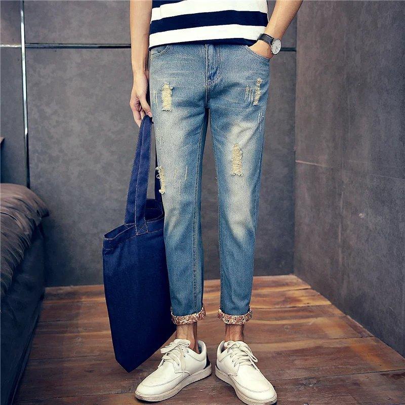 2018 Capri Jeans Men Summer Thin Section Harem Pants With Holes Capri Pants England Skinny Pants Slim-Fit Pants Fashion