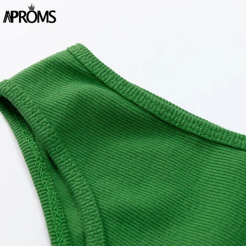 Aproms One Shoulder Ribbed Knitted Summer Dress Women Sexy Sleeveless Bodycon Mini Dresses Club Party Sundresses Vestidos 2020 5