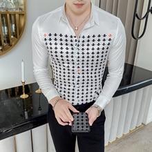 Camisa Masculina סתיו גברים חולצה אישיות הדפסת שרוול ארוך חולצות לגברים יוקרה לילה מועדון טוקסידו שמלת Camisa Hombre