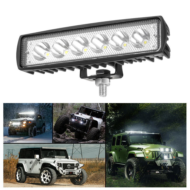 1PC 6 inch Led Light Bar Offroad Spot Work Light 18W Barre Led Working Lights Beams Car Accessories for Truck ATV 4x4 SUV 12V