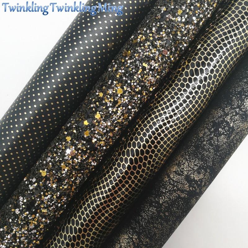 Черная блестящая ткань, в горошек, металлик, золото, синтетическая кожа, ткань, простыни для банта A4 21x29 см, мерцание Ming XM673