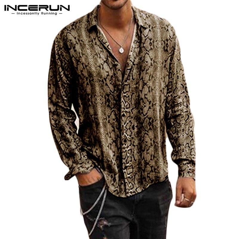 INCERUN Fashion Printed Shirt Men Long Sleeve Lapel Personality Brand Chemise Tops Button Casual Men Shirts Streetwear 2020 3XL