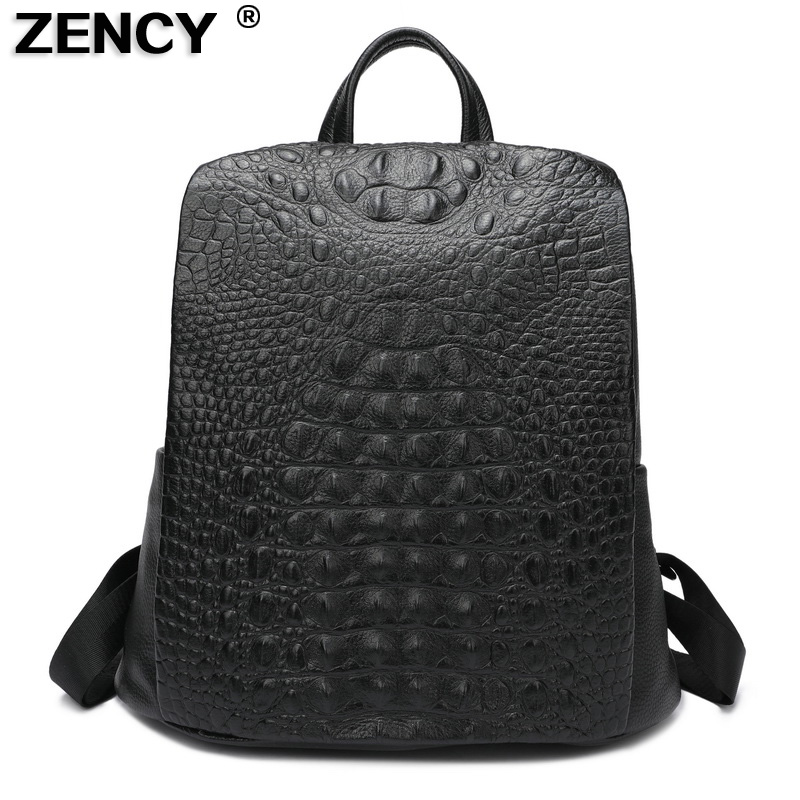 ZENCY 100% Genuine Cow Leather Crocodile Pattern Silver Accessories Women's Backpack Lady First Layer Cowhide Female Book Bags