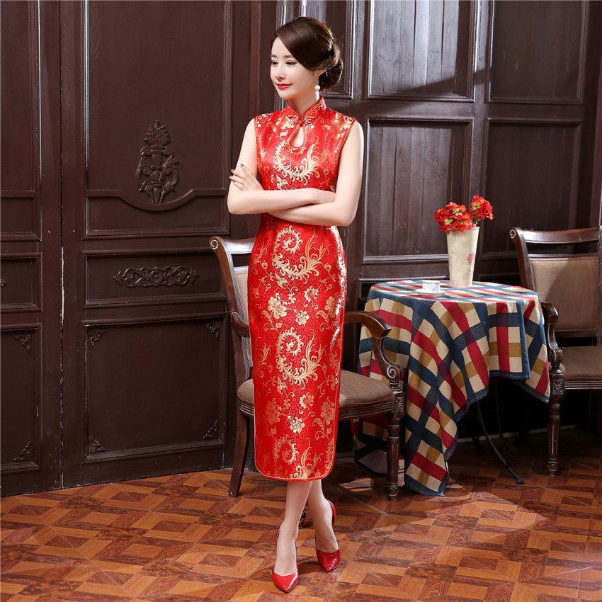Sleeveless Female Flower Classic Modern Qipao Mandarin Collar Cheongsam Evening Dress Traditional Chinese Women Long Dresses