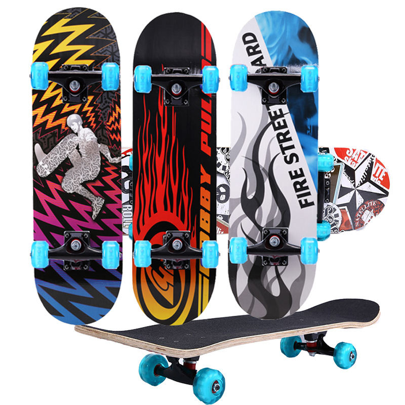 Four Wheel Skateboard 80 Cm Anti-slip Dull Polish Opposite Adhesive Paper 5436 Flashing Wheel 4-Wheel Double Snubby Adult Skateb