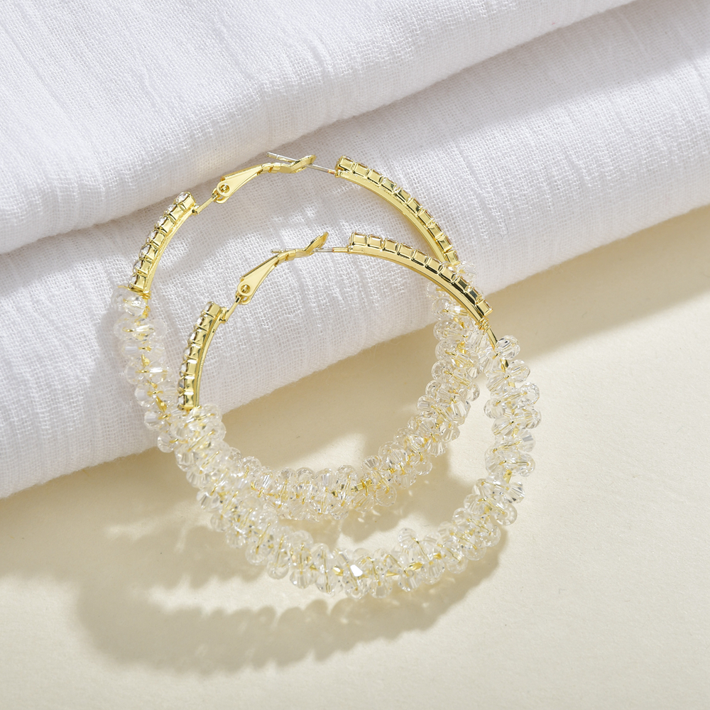2020 Oversize Crystal Wrap Hoop Earrings For Women Girls Unique Twisted Big Circle Earring Brinco Statement Fashion Jewelry