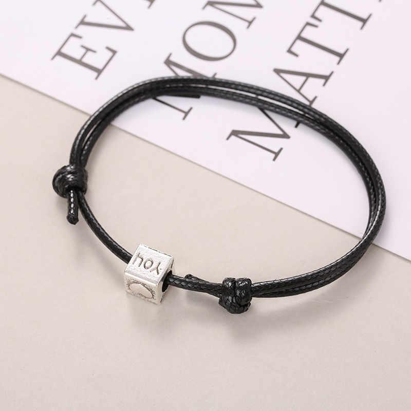 2 pz/set paio braccialetto per le donne e gli uomini di cuore 'amore' braccialetto per gli amanti del vintage argento Bronzo fatti a mano braccialetto di corda