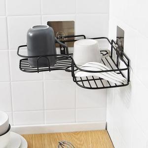 Tripod Corner Frame With 4 Brushed Hooks Bathroom Punch Corner Frame Bathroom Installation Iron Storage Shelf Kitchen Wholesale
