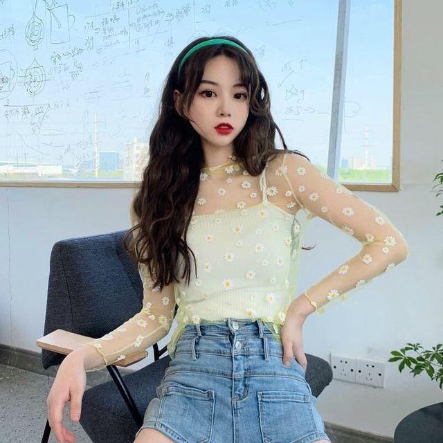 Ruoru New Summer Daisy Flower Print Mesh T Shirt Women Korean Long Sleeve Fishnet T Shirt Tops Kawaii Clothes Female Mesh Top 4