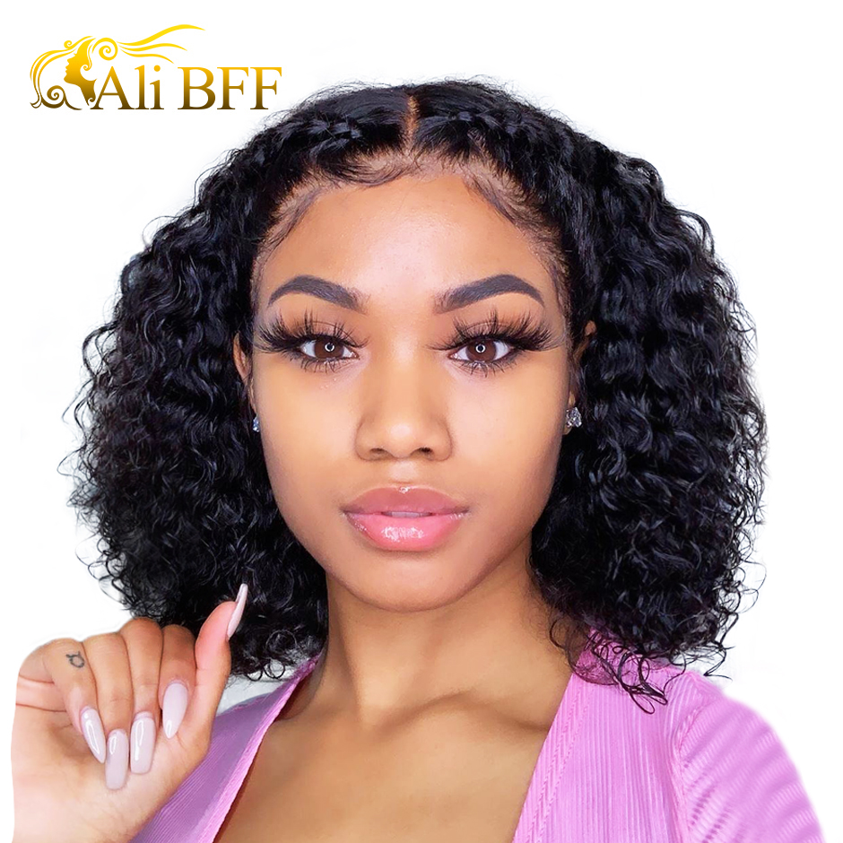 ALI BFF Water Wave Lace Front Human Hair Wigs For Women Natural Black 13x4 Deep Short Bob Wig Remy Brazilian free part wigs