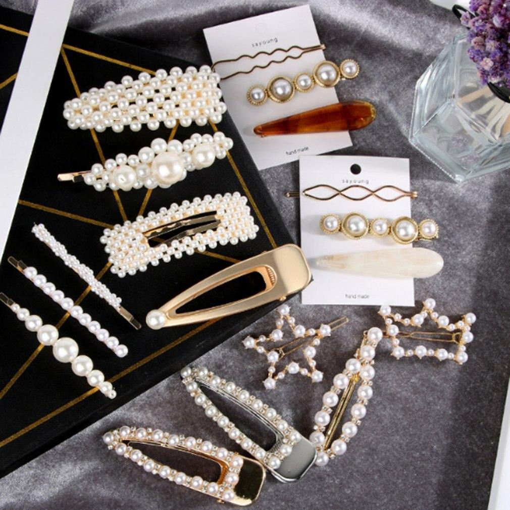 Pearl Hair Clip Set For Women Girls Gold European White Pearl Wedding Hairpins 10/4/5/12 Pcs Hair Clip