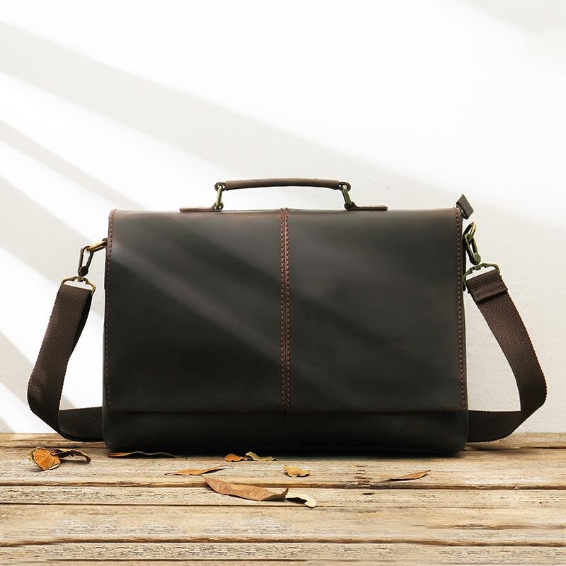 Handmade Leather Men's Bag Business Bag Head Layer Leather Handbag Men Retro Computer Messenger Bag Horizontal Section Briefcase