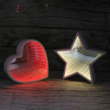 LEDIARY Novelty LED Tunnel White Night Light Heart Star Cloud Shape Cosmetic Mirror Abyss Effect Gift Decoration For Christmas