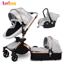 Aulon Baby stroller 3 in 1 2 in 1 ecological leather high la