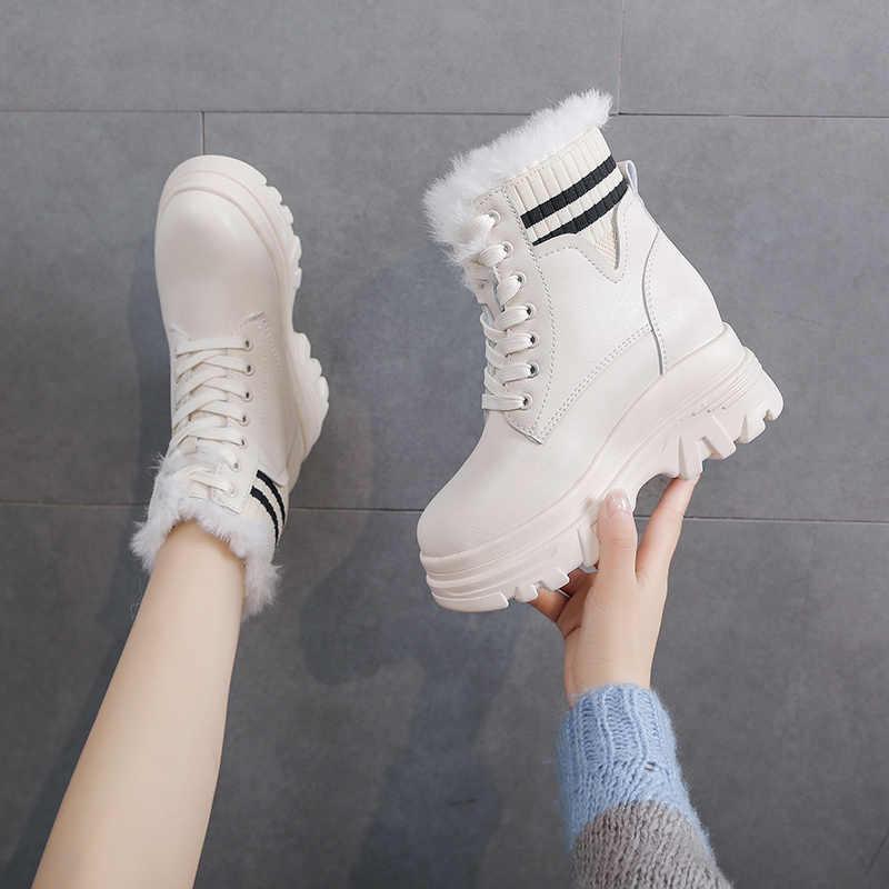 Botas de plataforma de cunha feminina altura crescente de pelúcia tornozelo botas de inverno sapatos casuais curto booties para senhoras barato