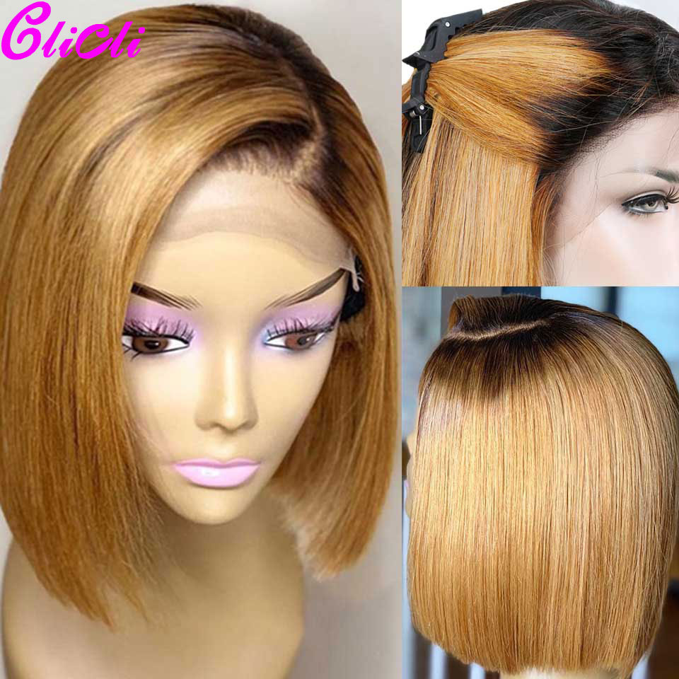 13X4 Bob Straight Wig 1b 27 Ombre Human Hair Lace Front Wigs Pre Plucked Brazilian Remy Bob Wigs For Women 150%