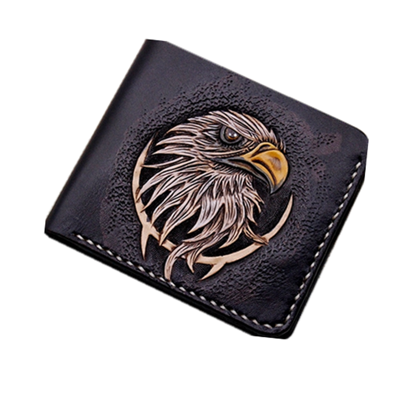 Hand-made Short Carving Eagle Wallets Purses Men Vegetable Tanned Leather Wallet Card Holder Souvenir Gift Customization