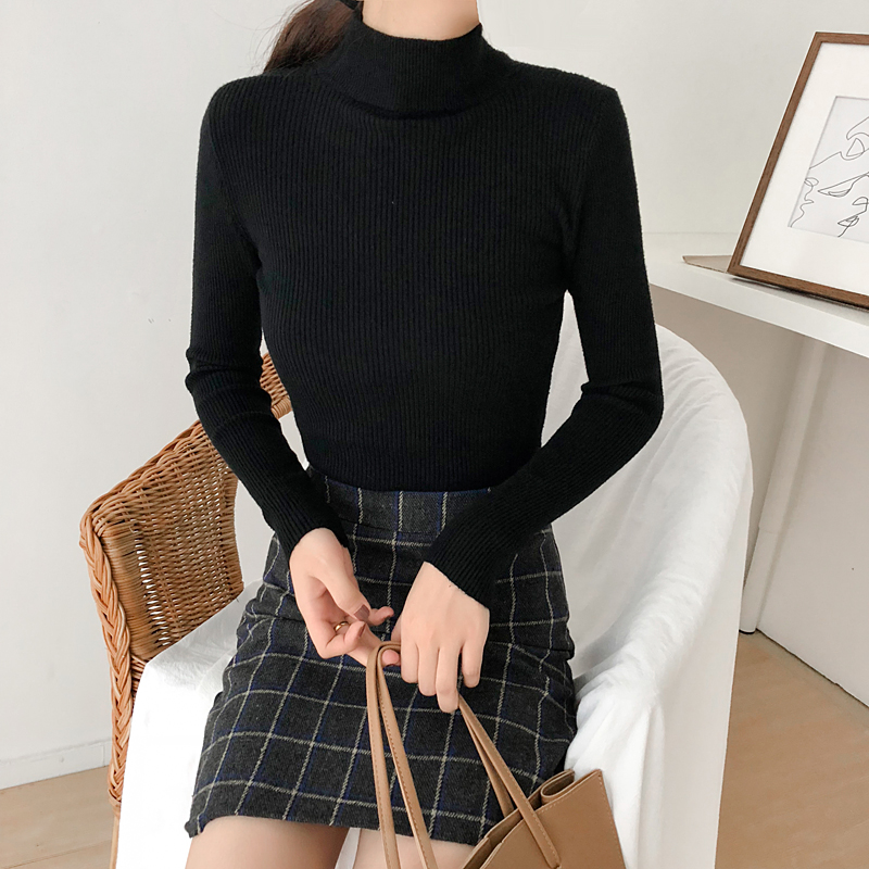 2019 Autumn Women Tops Ladies Long Sleeve Turtleneck Slim Pullover Knitted Thin Sweaters Top Femme Korean Solid Knitting Shirts