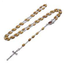 Ручной работы круглый шарик католические четки крест религиозное ожерелье из деревянных бусин подарок