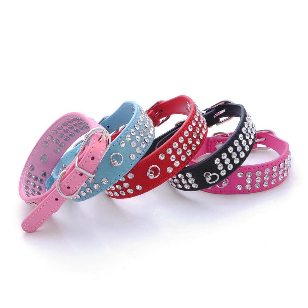 Jin Ling Jie Three Rows Man-made Diamond Pet Collar Velvet Dog Neck Ring Pet Supplies Wholesale Dog Chain Amazon Hot Sales