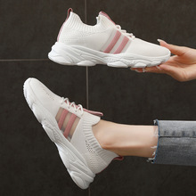 2020 Summer Women Shoes Elastic Fabric Breathable Fashion Sneakers Woman Flats Shoes Woman Flat Platform Lace-Up Ladies Shoes