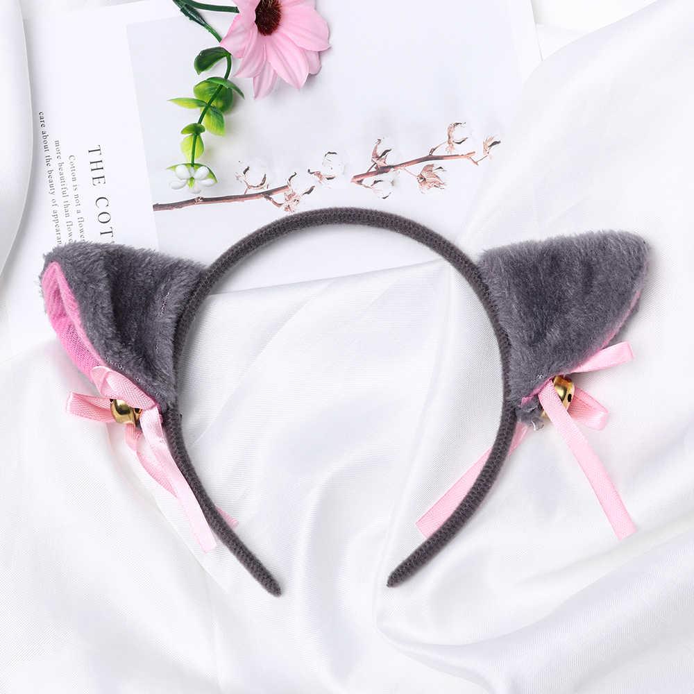 Sıcak yeni kızlar tatlı komik çan kedi karikatür kulaklar saç tokası kafa bandı Cosplay Anime kostüm doğum günü parti kadın saç aksesuarları