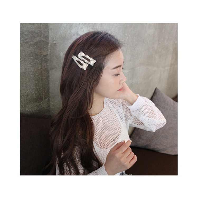 2020 Fashion Wanita Penuh Mutiara Rambut Klip Snap Baret Tongkat Jepit Rambut Alat Styling Rambut Aksesoris Rambut Hairdryer Hadiah 1Pcs