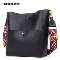 GIONAR RFID Soft Genuine Real Leather Bucket Tote Bag Women Designer Two Sets Purse Handbag Soft Leather Large Shoulder Bags