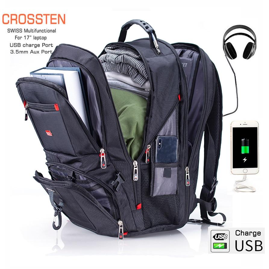 "Crossten 17.3"" Laptop Backpack Waterproof USB Charge Port Swiss Multifunctional Rucksacks Schoolbag Mochila Hiking Travel Bag"